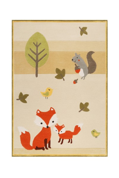 Esprit Kinderteppich Beige » E-Fox in the wood «