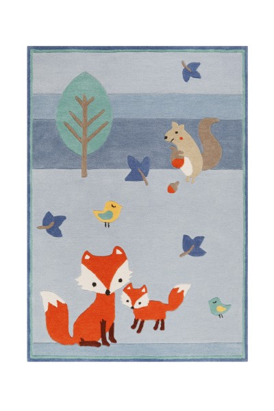 Esprit Kinderteppich Blau » E-Fox in the wood «
