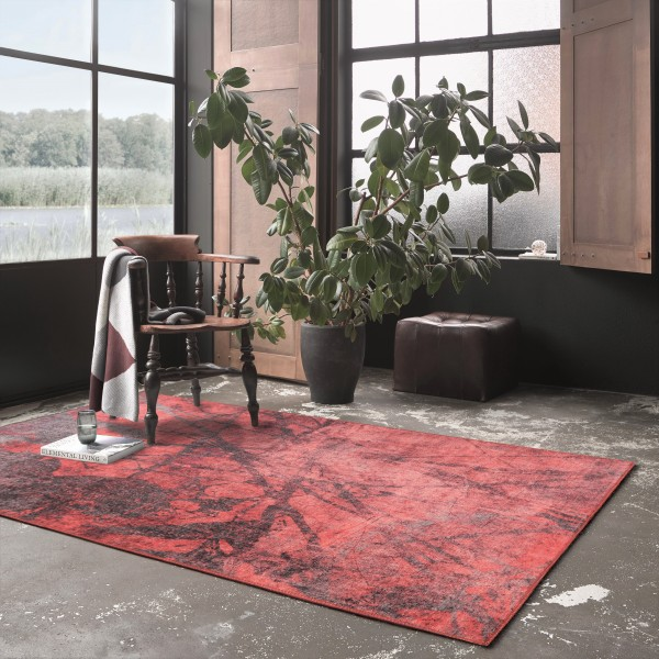 Wecon Home Kurzflor Vintage Teppich » Pepe « rot