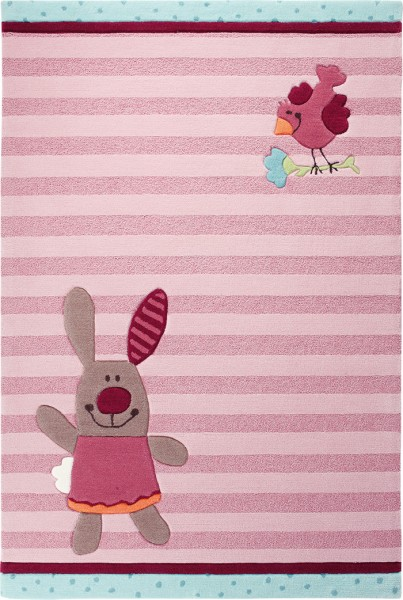 Sigikid Kinder Teppich » 3 Happy Friends Stripes « rosa blau