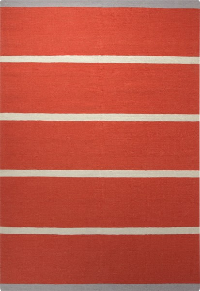 Esprit Kurzflor Kelim Teppich aus Wolle » Simple Stripe « orange
