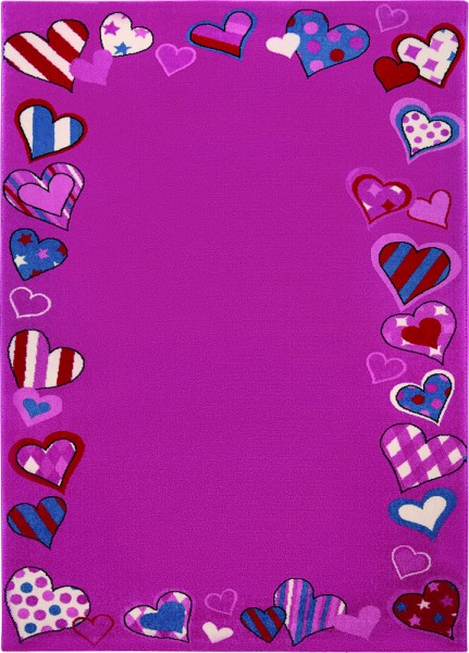 Bright Kids Kurzflor Teppich » Just Hearts « rosa pink