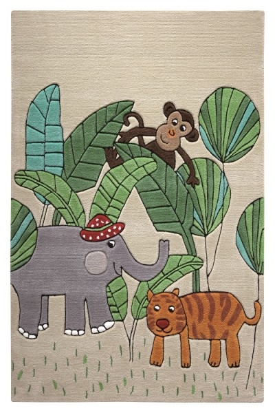 Kinder Teppich » Smart Kids Jungle Friends « beige sand