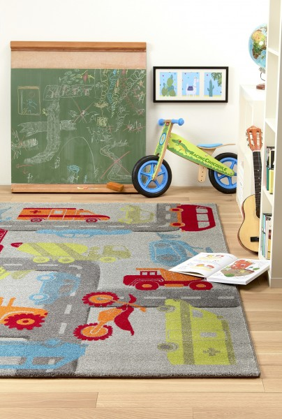Sigikid Kinder Teppich » Traffic « grau grün orange blau